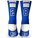 Custom Team Number Crew Socks | Athletic Socks by ChalkTalkSPORTS | Blue | 28