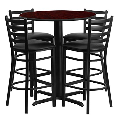 Flash Furniture 30'' Round Mahogany Laminate Table Set with 4 Ladder Back Metal Barstools - Black Vinyl Seat - Laminate Pub Table