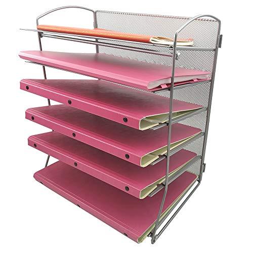 (EASEPRES 6-Tier Mesh Desktop File Organizer Document Letter Tray Holder for Office or Home, Silver)