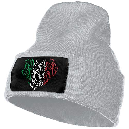 MXMAOM9MX Breast Cancer Awareness Italian Flag Warm Knitting Hat Mens Womens, 100% Acrylic Beanie Hat Gray (Italian Alpine Hat)