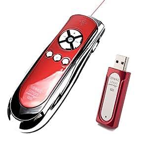 Duronic SP400RD - Mando inalámbrico para presentaciones / Función de ratón / Puntero láser / RF 2.4GHz (Cromo Rojo) +2 Años De Garantía