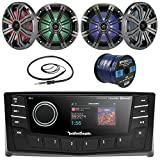 Rockford Fosgate PMX-5 Punch Marine Oversized 2.7'' DIN AM/FM Bluetooth Stereo Receiver Bundle Combo With 4x Kicker KM654 6.5'' Audio LED Speakers + 22'' Radio Antenna + 50 Ft Wire (Without Amplifier)