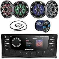 Rockford Fosgate PMX-5 Punch Marine Oversized 2.7 DIN AM/FM Bluetooth Stereo Receiver Bundle Combo With 4x Kicker KM654 6.5 Audio LED Speakers + 22 Radio Antenna + 50 Ft Wire (Without Amplifier)