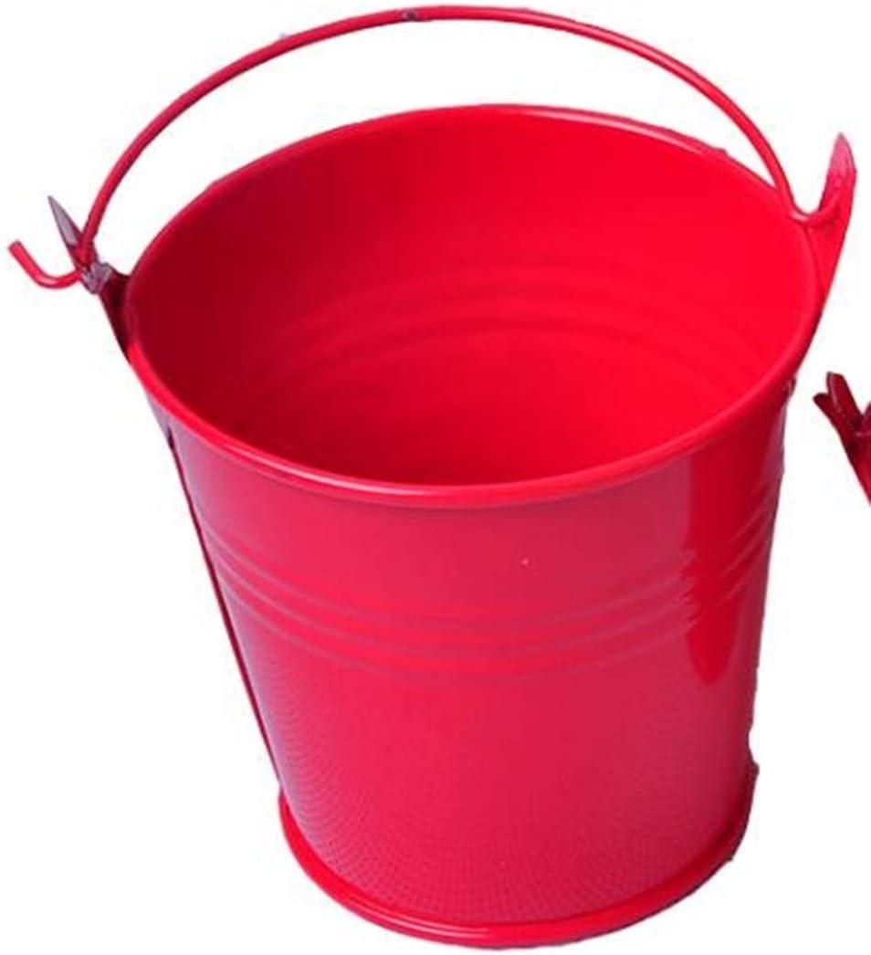LUOSI 1 Piezas Adornos artesanales for el hogar en macetas Pequeños barriles de Hierro Hojalata Mini Cubo 6 * 4 * 5.5 cm (Color : Red)
