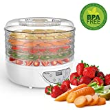 MLITER 5 Stackable Trays Electric Food Dehydrator Machine, Food Preserver Vegetable Flower Snack Dryer with Countdown Function Time Control and Automatically Stop Digital Display Control Panel