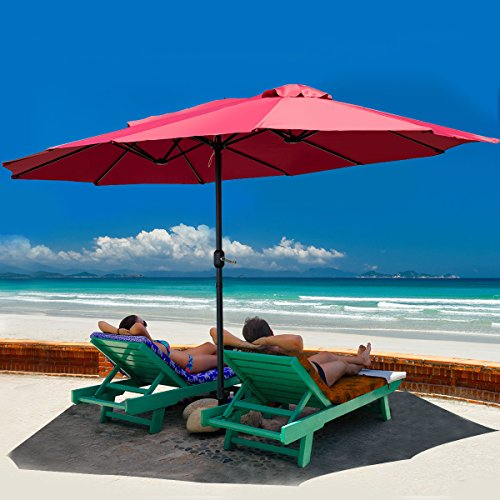 TANGKULA 15 Ft Patio Umbrella Double-Sided Steel Outdoor Market Table Umbrella with Crank (Wine) For Sale