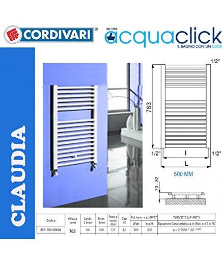 Cordivari Claudia scaldasalviette 763x500 Bianco 9010.: Amazon.it ...