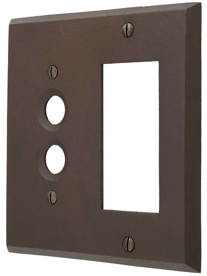 Distressed Bronze Push-Button/GFI Combination Switch Plate