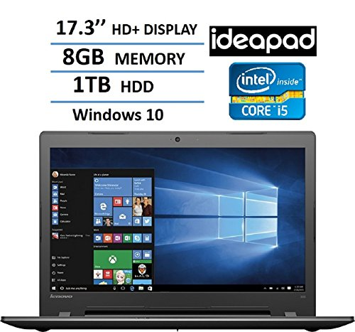 2017 Lenovo 17.3″ HD+ High Performance Premium Laptop, Intel Core i5-6200U Processor, 8GB RAM, 1TB HDD, Intel HD Graphics 520, DVD, HDMI, VGA, Bluetooth, 802.11ac, Webcam, Windows 10-Black