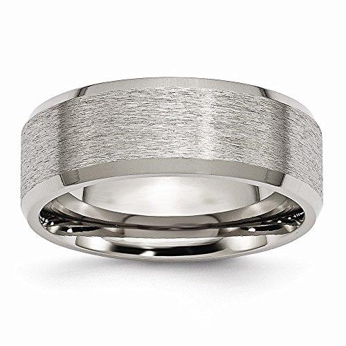 Chisel Titanium Beveled Edge 8mm Satin and Polished Band - Size 10.5