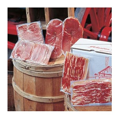 Johnston County Hams Smokehouse Sampler - Gourmet Bacon and Ham Trio Includes Hickory Smoked Sliced Country Bacon (2Pk), Country Ham Center Slices (2Pk), and Deli-thin Country Ham Slices (2Pk) - Hickory Ham