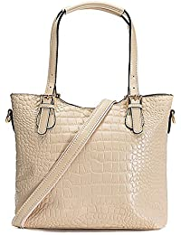 Womens crocodile style leather handbags with adjustable handles shoulder bags