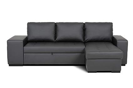 Confort24 Chloe Sofá Cama 3 Plazas Chaise Longue Reversible com 2 Puffs (Negro)