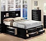 1PerfectChoice Ireland Black / Espresso Queen Bed w/ Multi-Drawers Storage Headboard Platform