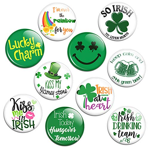 St Patrick's Day Irish Buttons Pins Shamrock For Saint Patrick's Day Decoration - 10 Pack Large Buttons