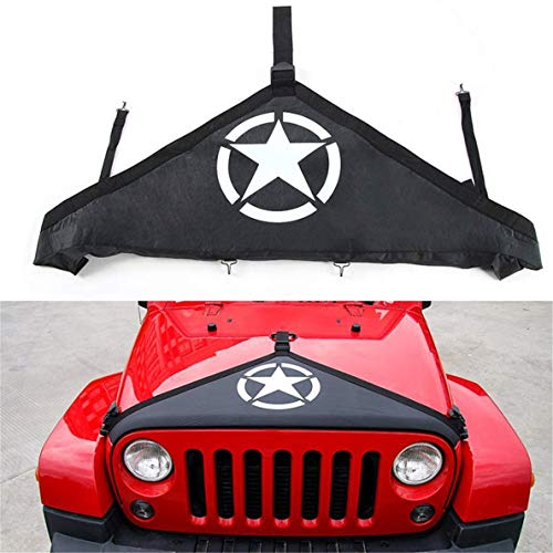 Xiao tianlong for Jeep Wrangler 2007-2017 Hood Cover Front End Bra Protector V-Hood Covers Balck Pentagram Logo