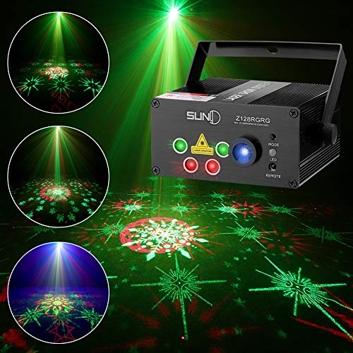 - SUNY Laser Lights Music Laser Projector 128 Combinations Gobos Projector Indoor 5 Lens Decoration Light Blue LED Remote Control Stage Lighting Red Green Sound Activated Party House Xmas RG Laser Light
