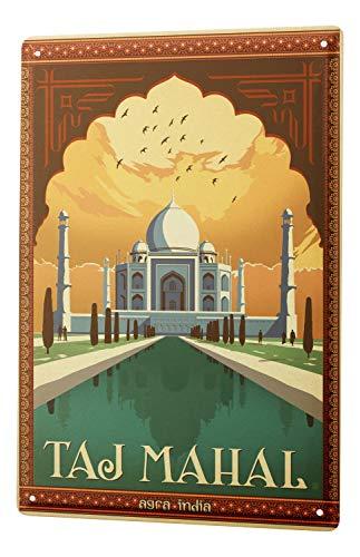 Tin Sign World Tour Taj Mahal India World Wonders Metal Plate 8X12