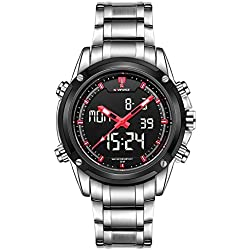NaviForce Men's Sport Stainless Steel LED Analog Digital Calendar Dual Time Dispaly Wrist Watch-Silver & Red