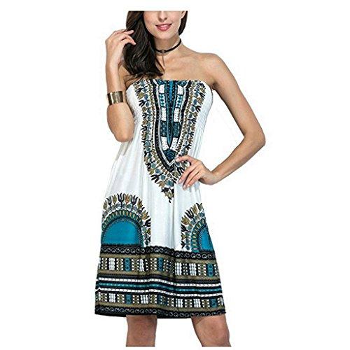 Strapless Beach Dress Bohemian Cover Up - Baroque Floral Sundress Vintage Tube Summer Dress
