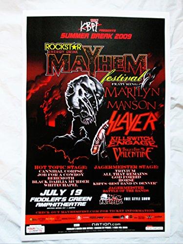 2009 Slayer Marilyn Manson Mayhem Festival Concert Poster Cannibal Corpse
