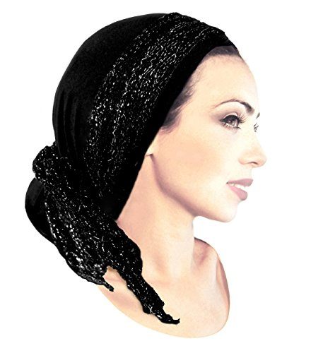Stunning black boho chic pre tied head-scarf with black & silver knit wrap - 123