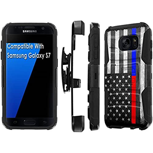 Galaxy [S7] [5.1 Screen] Armor Case [SlickCandy] [Black/Black] Heavy Duty Defender [Holster] [Kick Stand] Phone Case - [Fire Police Red Blue Line] for Samsung Sales