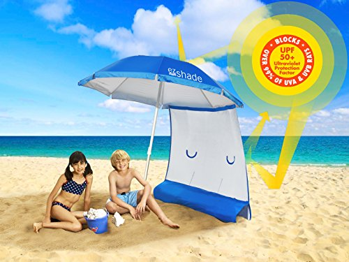 Foundation 4 Tent - ezShade NEW & Improved! Superior Sun Protection, 7' Steel Beach Umbrella & Sunshield Combo, Blocks 99% UVA/UVB, Doubles Your Shade and Keeps You Cooler.