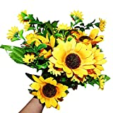Artificial Flowers (Sunflowers) 2 Pack-4xLarge 10cm(3.93') / 9xSmall 4cm(1.57') Faux Sunflower Heads with Leaves-Artificial Flower Bouquet-Floral Display Arrangements for Vase, Wedding and Home Decor