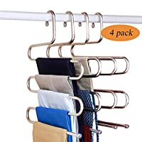Fashion Easy Pants Hangers S-Shape Trousers Hangers Stainless Steel Closet Organization Space Saving for Pants Jeans Scarf Ties Towels (4 Pack)