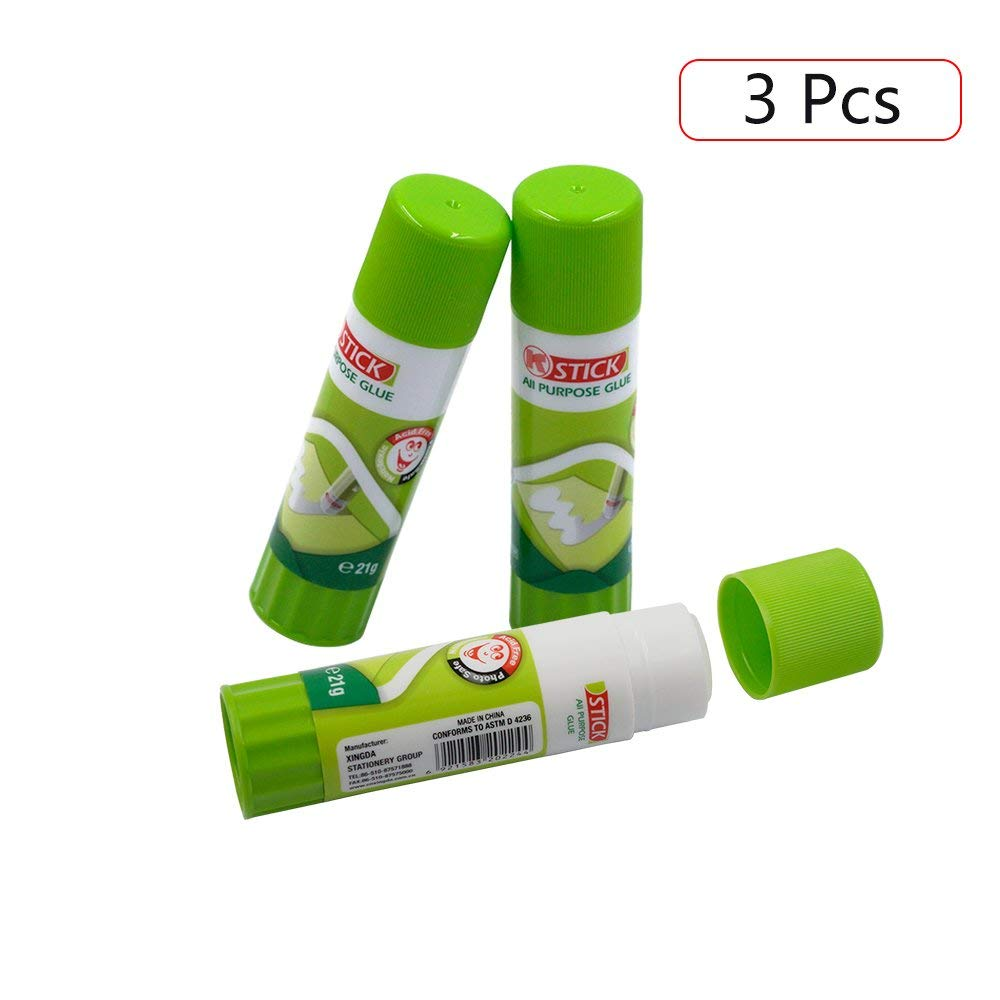 3D Printer Glue Sticks, HNYYZL 3 Pcs PVP Solid Stickers Easy Removal Tape Accessories for 3D Printer Hot Bed Print Filament PLA ABS PET PETG and Other ...