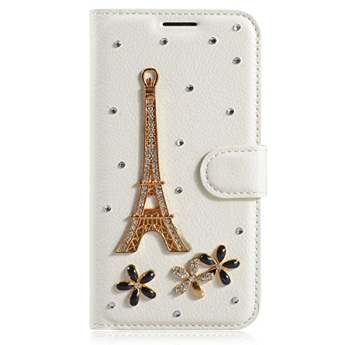 HTC Desire Eye Case,Gift_Source [Card Slot] [Kickstand Feature] 3D Bling Crystal Handmade Diamond Leather Wallet Magnet Flip Folio Case for HTC Desire Eye [Eiffel Tower] (Htc Case Eye Wallet Desire)