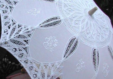Battenburg Lace Parasol W/embroidery by lace-parasols (Image #2)