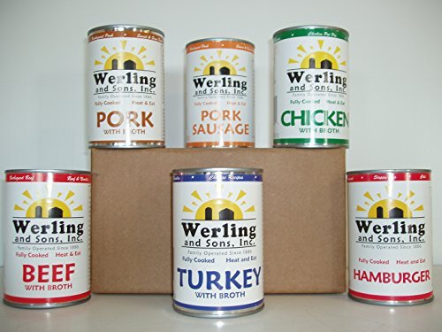 Werling Meats' Variety Pack - Beef, Chicken, Pork, Turkey, Hamburger, Pork Sausage - 14.5 Oz (Other) (Werling & Sons Canned Meats compare prices)