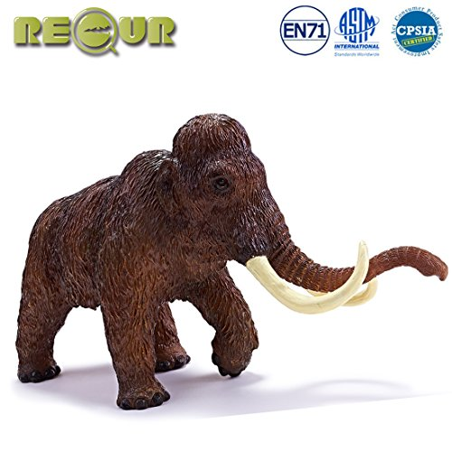 """Recur 11"""" Woolly Mammoth Realistic Jurassic Toys,Wildlife Stuffed Elephant with Tusks , Soft Hand-Painted Toy Figurine Model-1:10 Jurassic Action Figures, Ideal Gift for Collectors Kids, Ages 3 And Up"""