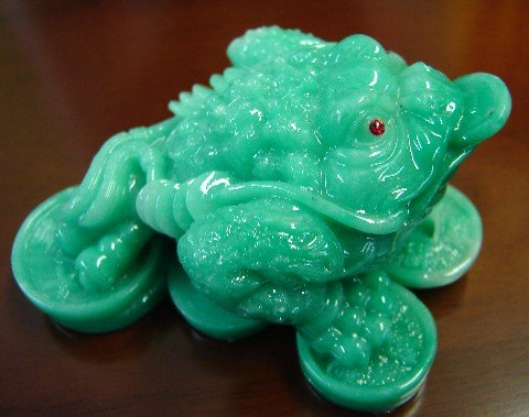 - Feng Shui Green Money Frog Statue Three Legged Money Toad Figurine On Coins