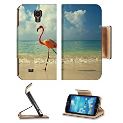 Flamingo On The Ocean Shore Samsung Galaxy S4 Flip Cover Case with Card Holder