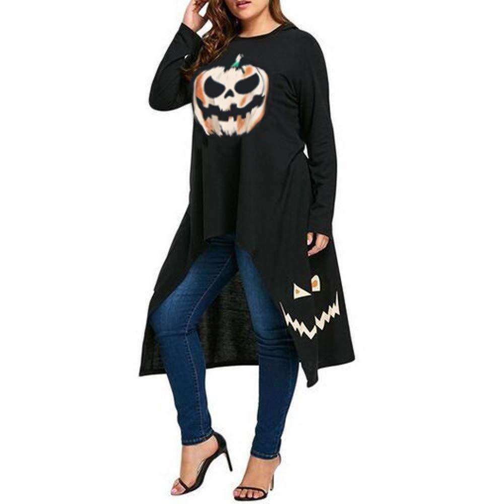 Halloween Costumes Women Plus Size High Low Hem Hooded Pumpkin Print Cocktail Party Swing Dress Adult New