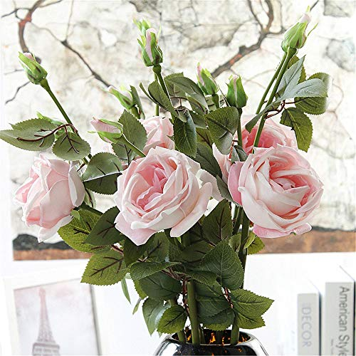 Handmade Real Touch Cabbage Rose Artificial Spring Flower in Milky White with Thorns (1 PC) (Vintage Pink)