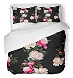 Emvency 3 Piece Duvet Cover Set Breathable Brushed Microfiber Fabric Colorful Floral White and Pink Peonies on Black with Band of Flowers Watercolor Bedding Set with 2 Pillow Covers Twin Size