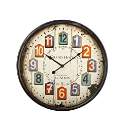 Adeco CK0068 20 Large Vintage Retro Round Wall Hanging Clock Faux Wood Chip Numbers Grand Hotel Home Office Decor, Ideal for Living Dining Room/Hall, Multicolor
