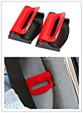 Dwindish Red 2 Pcs Smart Seatbelt Adjuster Clip Buckle Shoulder Relax Neck Comfort Supports