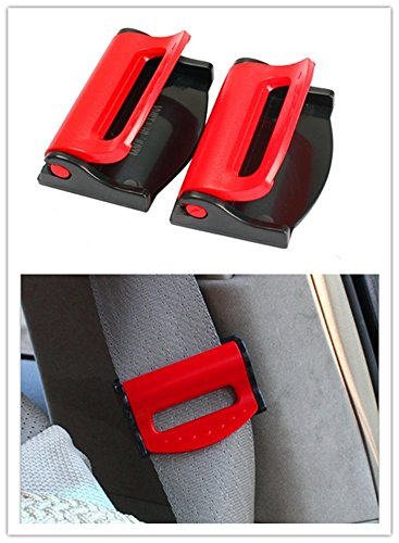 Dwindish Red 2 Pcs Smart Seatbelt Adjuster Clip Buckle Shoulder Relax Neck Comfort Supports