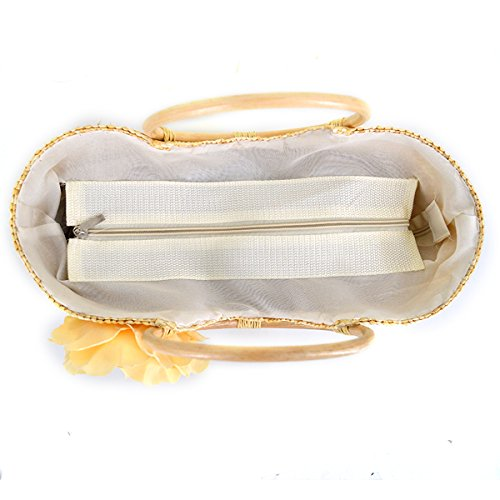 Bag Women Handbag white Holiday with Beach Straw Bag Woven Off Summer Shoulder Top Tote handle Flower MEGA cI7TdWqT
