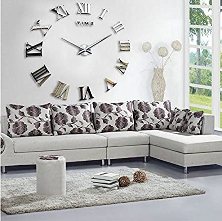 creative designs mirror wall clock large. Fancy Decor TM Silver Time Letters Roman Numbers Luxury DIY Frameless  Quartz 3D Large