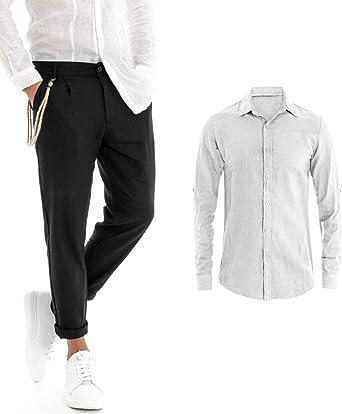Giosal Outfit - Camisa de Lino Blanco y Negro para Hombre ...