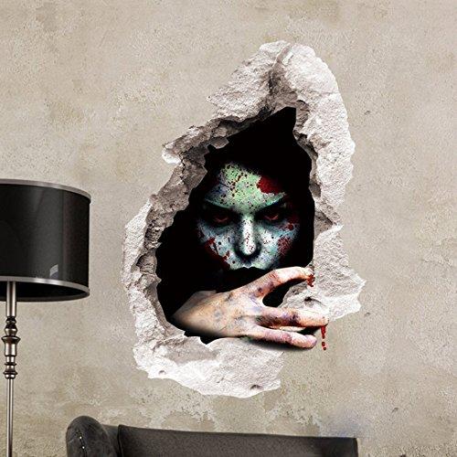 ZJCilected Removable Vinyl 3D Wall Stickers Bleeding Ghost Halloween Wall Mural Stickers Art Decor,#3]()
