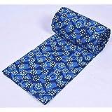 SHIRANYA Indigo Floral Hand Block Printed Indian Ethnic Natural Cotton Jaipuri Print Sanganeri Kurti Fabric for Sewing DIY (S