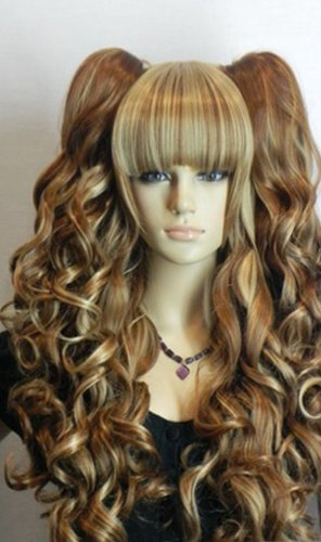 [Paixpays Long Wavy Curly Pony Pig Tail Blonde Yellow Brown Mix Full Hair Wig] (Blonde Pigtail Wig)