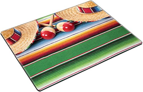 MSD Place Mat Non-Slip Natural Rubber Desk Pads Design: 37521757 Mexican sombreros and Maracas on a Traditional Serape Blanket Space for Copy